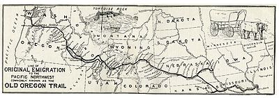 Route of the oregon trail wikipedia map from the ox team or the old oregon trail 18521906 by ezra meeker freerunsca Choice Image