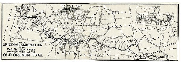 The Oregon trail started in St. Louis, Missouri. Oregontrail 1907.jpg