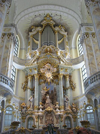 Clavier-Übung III - Reconstruction of the facade of the Silbermann organ in the Frauenkirche, Dresden on which Bach performed on December 1, 1736, a week after its dedication