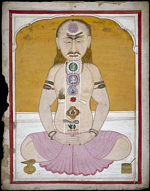 Kundalini yoga - Indian Tantric illustration of the subtle body channels that are transversed by Kundalini
