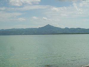 Ormoc Bay - The bay facing Merida, with the Magsanga mountain peak in the background