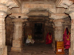 Panchakuta Basadi, Kambadahalli - A closed mantapa with ornate Ganga style pillars at Panchakuta Basadi, Kambadahalli, Mandya District