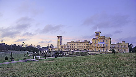 Osborne House, the summer retreat of Queen Victoria on the Isle of Wight. Starting from the late 18th century, settlements on and around the English Channel coastline in England grew rapidly into thriving seaside resorts, bolstered by their association with royalty and the middle and upper classes. Osborne-iow-3Ja10-10876.jpg