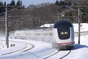 Mini-shinkansen - An E3 series mini-shinkansen train on the Akita Shinkansen in March 2014