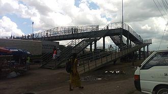 Buguruni - An overhead pedestrian walk way bridge at the Buguruni traffic lights.