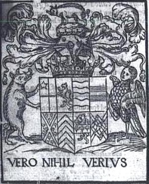 "Earl of Oxford - Woodcut of Edward de Vere, 17th Earl of Oxford coat of arms and motto ""Nothing more true than truth,"" 1574"