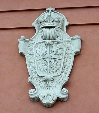 Coat of arms of the Polish–Lithuanian Commonwealth - Image: Płaskorzeźba godła wazów wieża zygmuntowska warszawa