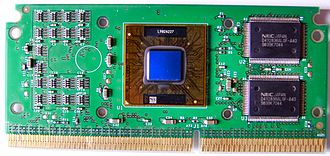 Back-side bus - A Pentium II processor module with its cover removed showing the processor on the left and the L2 cache memory on the right