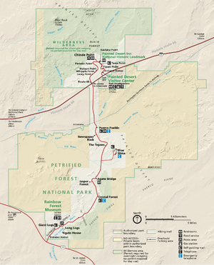 Map of Petrified Forest National Park in north...