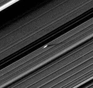 Moonlet - The 400-meter moonlet Earhart in Saturn's A Ring, just outside the Encke Gap.