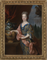 PORTRAIT OF A LADY, THREE-QUARTER LENGTH, STANDING BEFORE AN ELEGANT GARDEN, HER ARM RESTING ON AN URN.PNG
