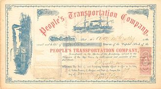 People's Transportation Company - Stock certificate of the People's Transportation Company, issued to Asa A. McCully.