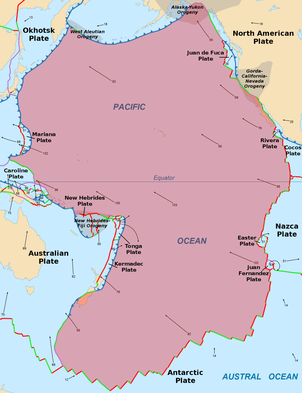 Pacific Plate Wikipedia - Pate boundaries off the coasts us map