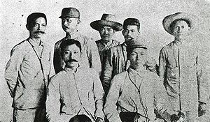 Pact of Biak-na-Bato - The Filipino negotiators for the Pact of Biak-na-Bato. Seated from left to right: Pedro Paterno and Emilio Aguinaldo with five companions