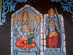 Painting of Lord Rama on a temple at Bhadrachalam