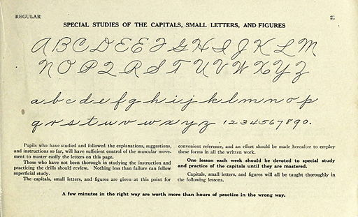 Palmer Method alphabet