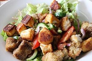 Italian salad: Panzanella (bread, salad, tomat...