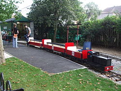Park Gates stn black train train Barking Park Light Railway.JPG
