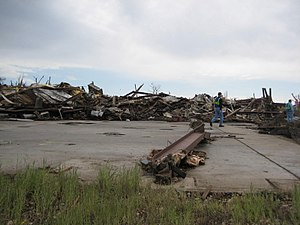 Tornado outbreak sequence of May 22–31, 2008 - EF5 damage to an industrial building in western Parkersburg.