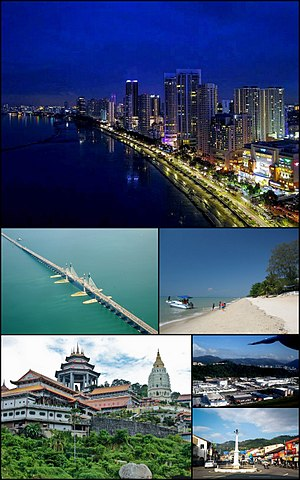 Clockwise from top: Skyline of George Town, a beach at Batu Ferringhi, Bayan Lepas Free Industrial Zone, Balik Pulau, Kek Lok Si at Air Itam, the Penang Bridge