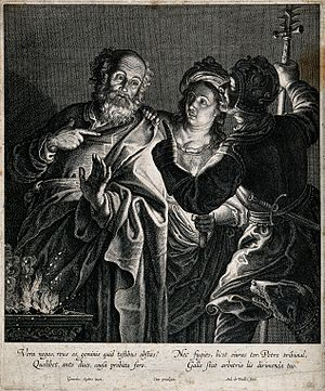 The Denial of Saint Peter (Rembrandt) - Image: Peter denies knowledge of Christ. Engraving by A. de Paulis Wellcome V0034763