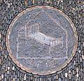 Pflastermosaik vor dem Bettenhaus Stiegeler (seit 1902) in Freiburg im Breisgau.jpg