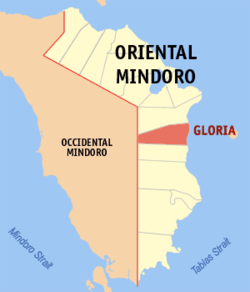 Map of Oriental Mindoro showing the location of Gloria