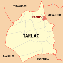 Map of Tarlac showing the location of Ramos