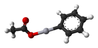 Ball and stick model of the phenylmercury acetate molecule