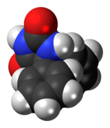 Space-filling model of the phenytoin molecule