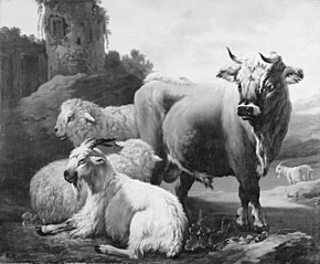 Landscape with a Bull, Sheep and Goats