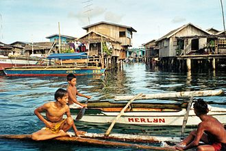 Sulu Archipelago - Bajau stilt houses over the sea in Basilan.