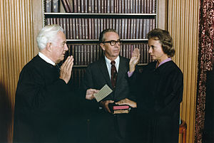 Sandra Day O'Connor - O'Connor being sworn in by Chief Justice Warren Burger
