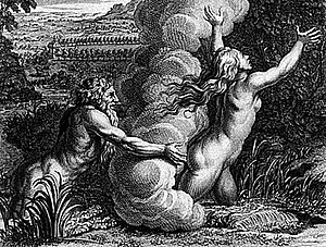Alpheus (deity) - An engraving by Bernard Picart depicting a scene from Ovid's Metamorphoses in which Alpheus attempts to capture the nymph Arethusa.