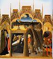 Pietro di Giovanni d'Ambrogio. Nativity with sts Agostino and Galgano. 1430-35. Asciano, Museo de Arte Sacra..jpg