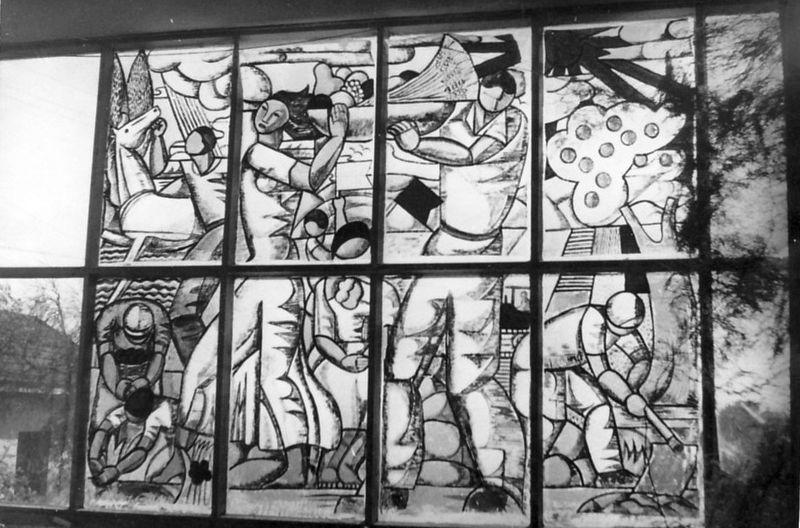 גן-שמואל-תמונת ויטראז' בחלון חדר האכל 1950