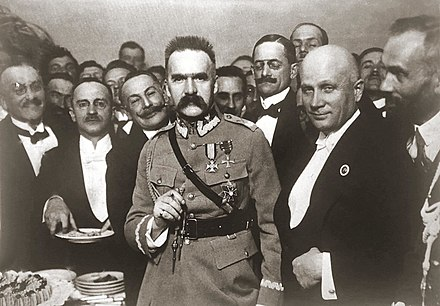 At Warsaw's Hotel Bristol, 3 July 1923, Pilsudski announced his retirement from active politics. Pilsudski in Bristol.jpg