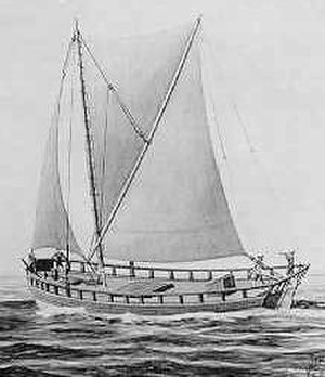 Pinnace (ship's boat) - 'Small' Pinnace under full sail - artist