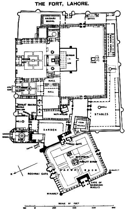 Plan map of Lahore Fort 1911.jpg