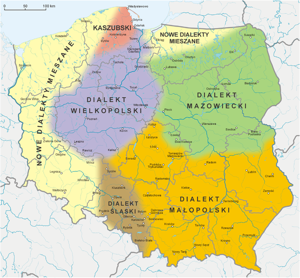 A map of Polish dialects. The Pomorze region contains the Kashubian language and a mix of Polish dialects from other parts of the country. Polska-dialekty wg Urbanczyka.PNG