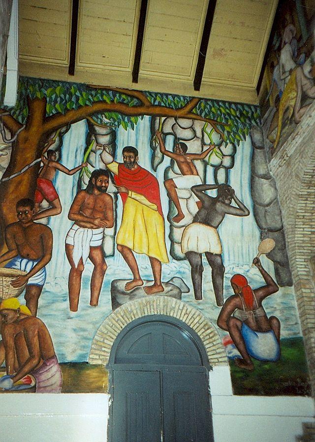 A mural depicting the baptism of Jesus, Cathédrale de Sainte Trinité, Port-au-Prince, Haiti