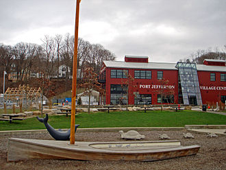 Port Jefferson, New York - Port Jefferson Village Center, during the final phase of Harborfront Park's construction