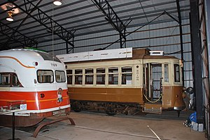 Oregon Electric Railway Museum - Porto car 210 (and PCC car 1159) inside the carbarn