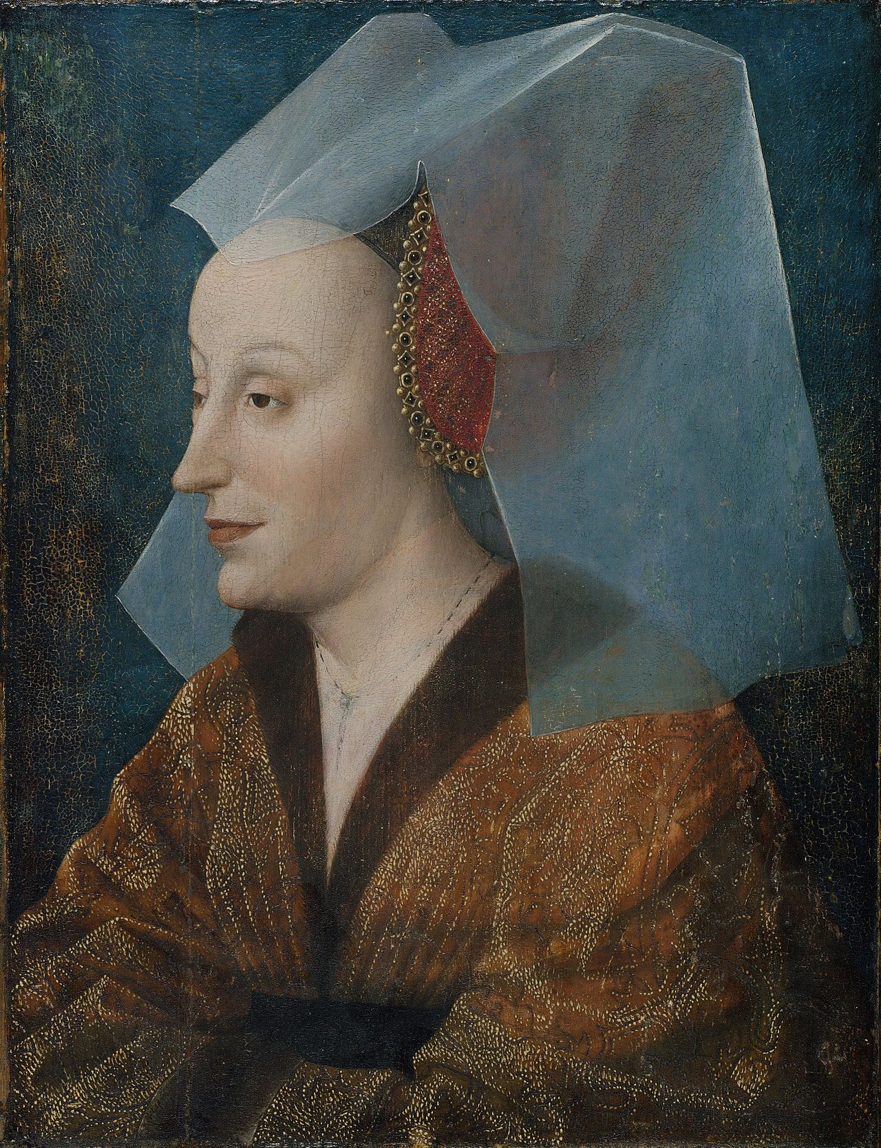 Probable portrait of Isabella of Portugal by an unknown northern artist in the mid-15th century. The woman's veil is transparent silk - most likely supplied by Giovanni di Nicolao Arnolfini
