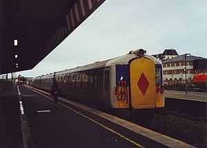 Portrush railway station - NIR Class 80 train at Portrush in 2000
