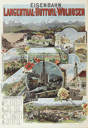 Langenthal - Poster from 1936 advertising the Langenthal-Huttwil-Wollhusen railway
