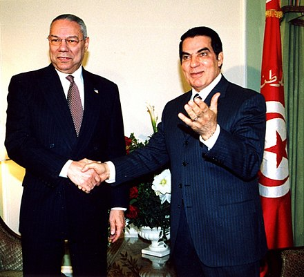 Ben Ali with U.S. Secretary of State Colin Powell in 2004 Powell Ben Ali.jpg