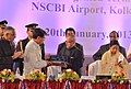 Pranab Mukherjee addressing at the inauguration of the new Integrated Terminal Building at Netaji Subhash Chandra Bose International (NSCBI) Airport, in Kolkata. The Governor of West Bengal.jpg