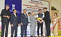 Pranab Mukherjee presented the National Awards for excellence in journalism, at the National Press Day celebrations, in New Delhi. The Minister of State for Information & Broadcasting, Col. Rajyavardhan Singh Rathore (2).jpg