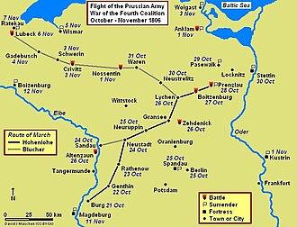 Battle of Prenzlau - Prenzlau-Lubeck Campaign Map, October–November 1806